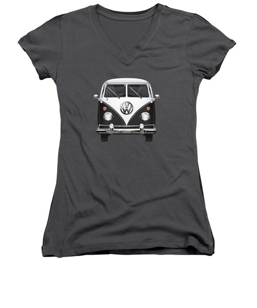 Volkswagen Type 2 - Black And White Volkswagen T 1 Samba Bus On Red  Women's V-Neck T-Shirt (Junior Cut) by Serge Averbukh
