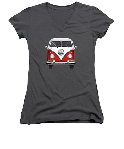 Volkswagen Type 2 - Red And White Volkswagen T 1 Samba Bus Over Green Canvas  Women's V-Neck T-Shirt (Junior Cut) by Serge Averbukh