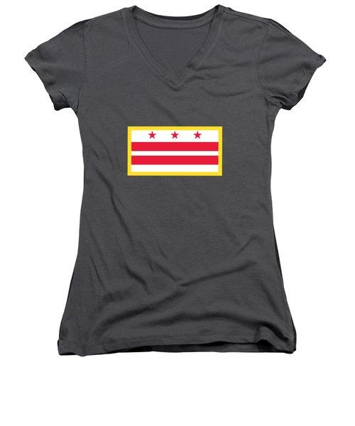 Washington, D.c. Flag Women's V-Neck T-Shirt (Junior Cut) by Frederick Holiday