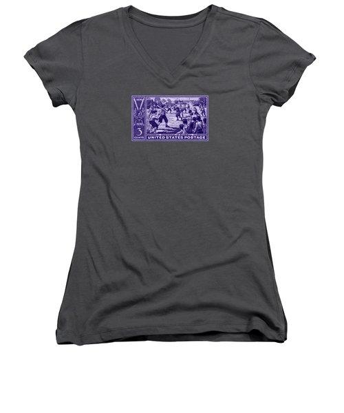 1939 Baseball Centennial Women's V-Neck T-Shirt (Junior Cut) by Historic Image