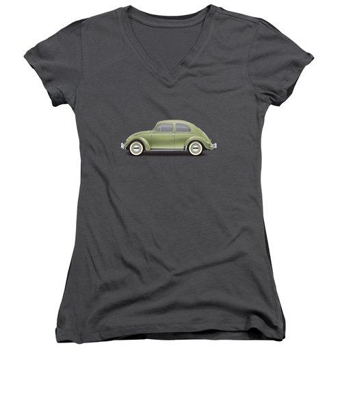 1957 Volkswagen Deluxe Sedan - Diamond Green Women's V-Neck T-Shirt (Junior Cut) by Ed Jackson