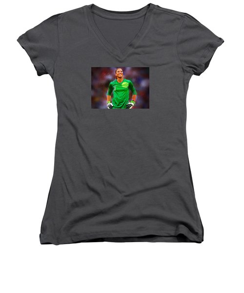 Hope Solo Women's V-Neck T-Shirt (Junior Cut) by Semih Yurdabak