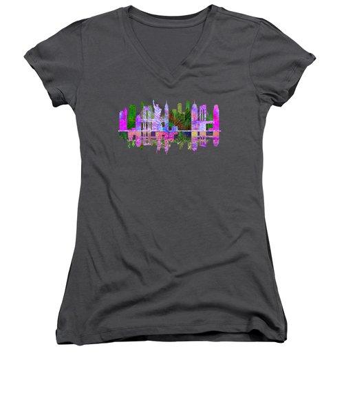 New York Skyline Women's V-Neck T-Shirt (Junior Cut) by John Groves