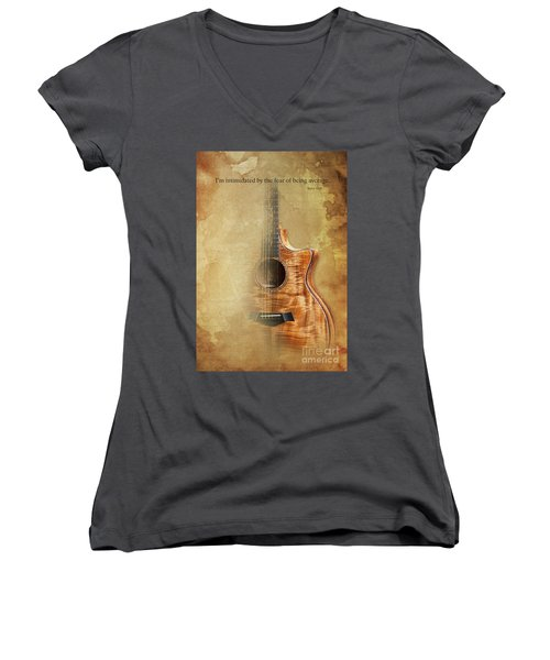 Taylor Inspirational Quote, Acoustic Guitar Original Abstract Art Women's V-Neck T-Shirt (Junior Cut) by Pablo Franchi