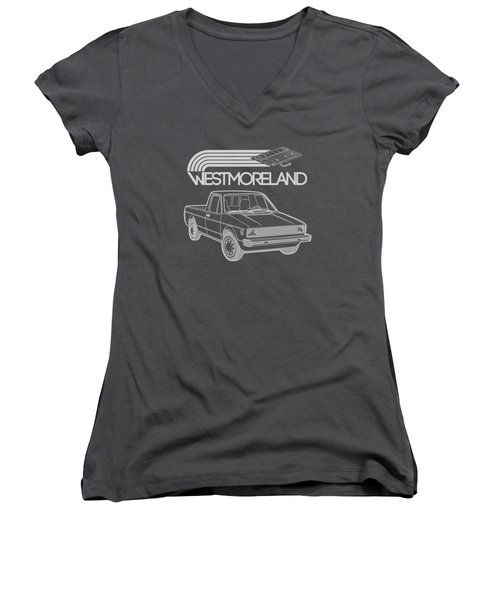 Vw Rabbit Pickup - Westmoreland Theme - Black Women's V-Neck T-Shirt (Junior Cut) by Ed Jackson