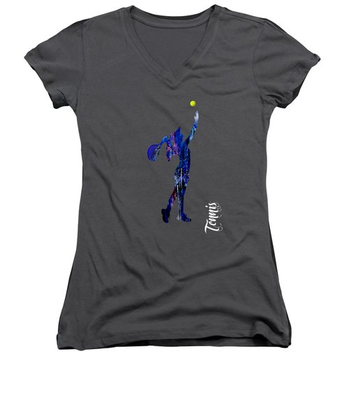 Womens Tennis Collection Women's V-Neck T-Shirt (Junior Cut) by Marvin Blaine