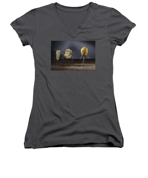 Simple Things - Potatoes Women's V-Neck T-Shirt (Junior Cut) by Nailia Schwarz