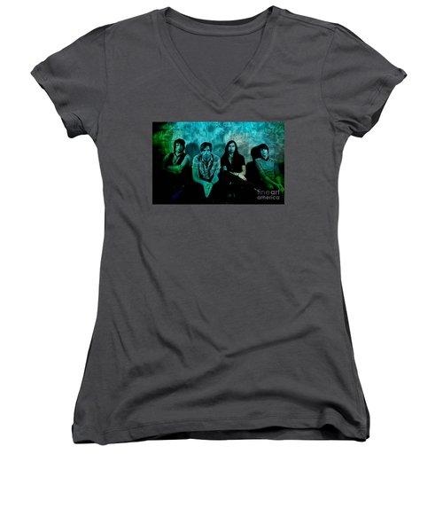 Kings Of Leon Women's V-Neck T-Shirt (Junior Cut) by Marvin Blaine
