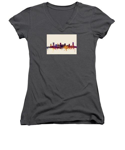 Nashville Tennessee Skyline Women's V-Neck T-Shirt (Junior Cut) by Michael Tompsett
