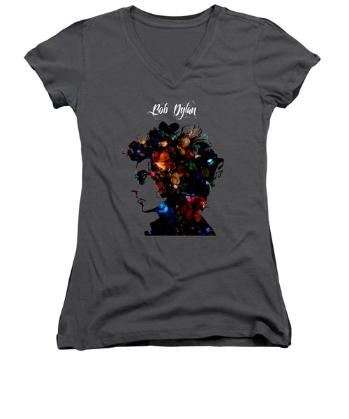 Bob Dylan Collection Women's V-Neck T-Shirt (Junior Cut) by Marvin Blaine
