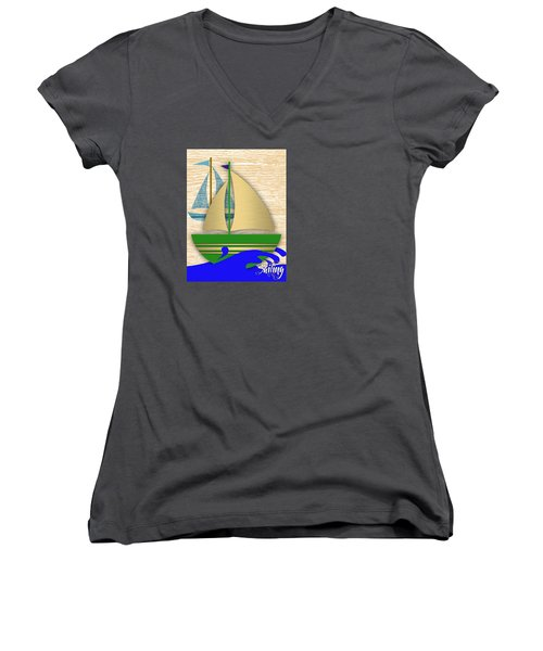 Sailing Collection Women's V-Neck T-Shirt (Junior Cut) by Marvin Blaine
