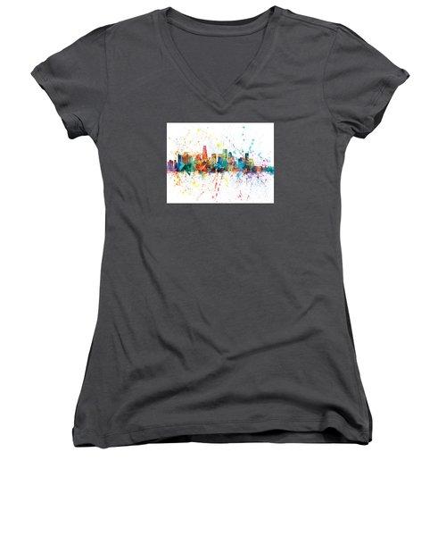 Los Angeles California Skyline Women's V-Neck T-Shirt (Junior Cut) by Michael Tompsett