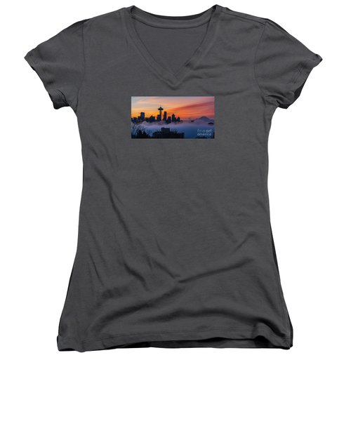 A City Emerges Women's V-Neck T-Shirt (Junior Cut) by Mike Reid