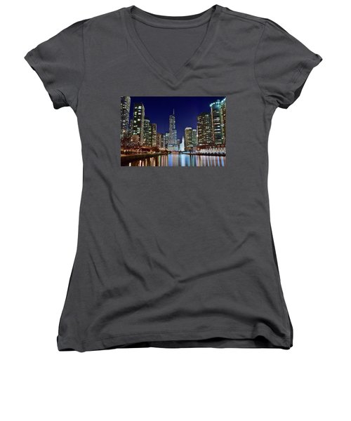 A View Down The Chicago River Women's V-Neck T-Shirt (Junior Cut) by Frozen in Time Fine Art Photography