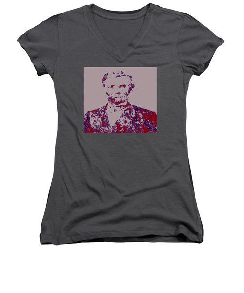 Abraham Lincoln 4c Women's V-Neck T-Shirt (Junior Cut) by Brian Reaves