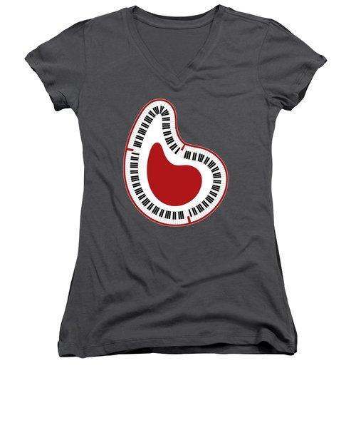 Abstract Piano Women's V-Neck T-Shirt (Junior Cut) by Frank Tschakert