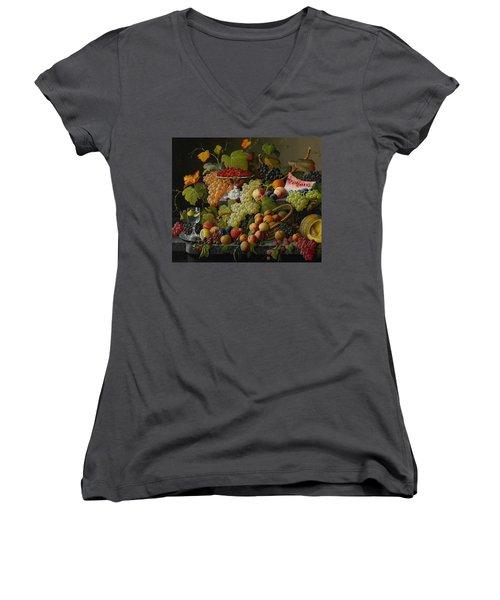 Abundant Fruit Women's V-Neck T-Shirt (Junior Cut) by Severin Roesen