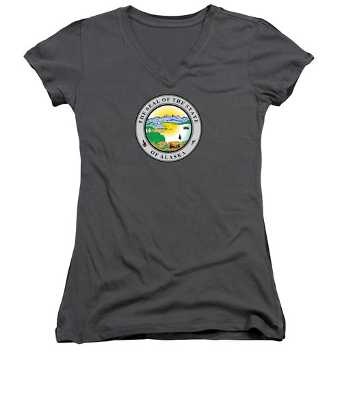 Alaska State Seal Women's V-Neck T-Shirt (Junior Cut) by Movie Poster Prints