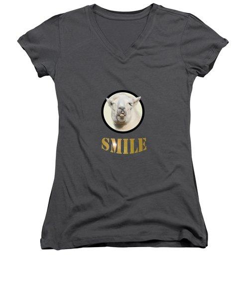 Alpaca Smile  Women's V-Neck T-Shirt (Junior Cut) by Rob Hawkins