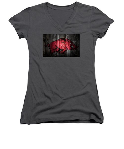 Arkansas Razorbacks 2a Women's V-Neck T-Shirt (Junior Cut) by Brian Reaves
