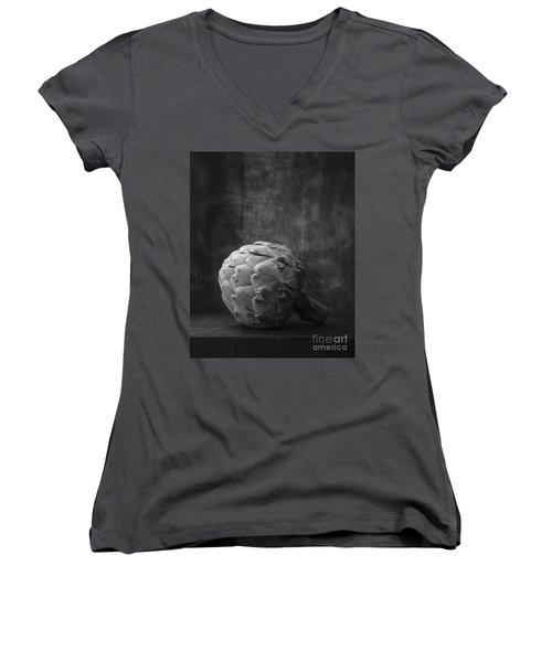 Artichoke Black And White Still Life Women's V-Neck T-Shirt (Junior Cut) by Edward Fielding