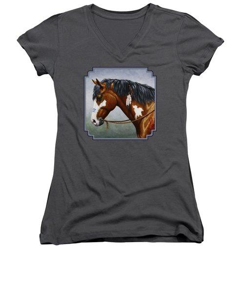 Bay Native American War Horse Women's V-Neck T-Shirt (Junior Cut) by Crista Forest
