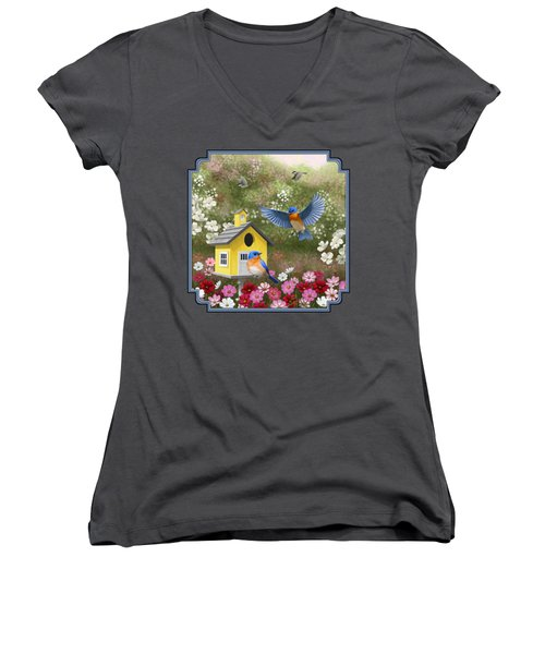 Bluebirds And Yellow Birdhouse Women's V-Neck T-Shirt (Junior Cut) by Crista Forest