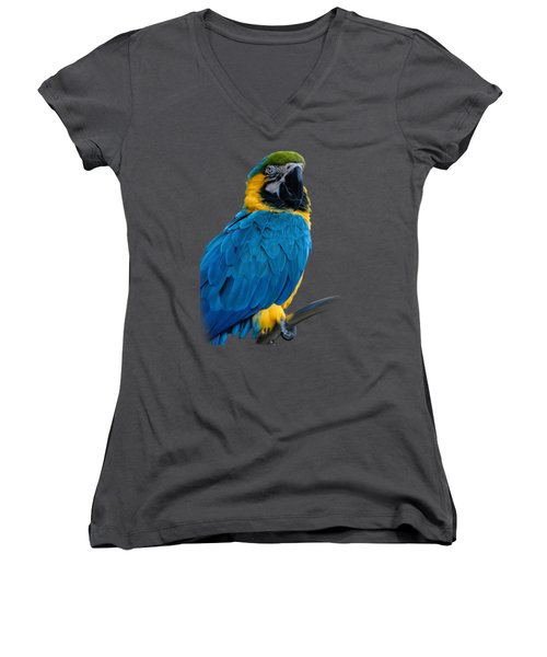 Blue Yellow Macaw No.2 Women's V-Neck T-Shirt (Junior Cut) by Mark Myhaver