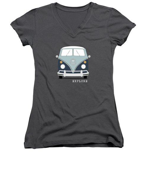 Vw Bus Blue Women's V-Neck T-Shirt (Junior Cut) by Mark Rogan