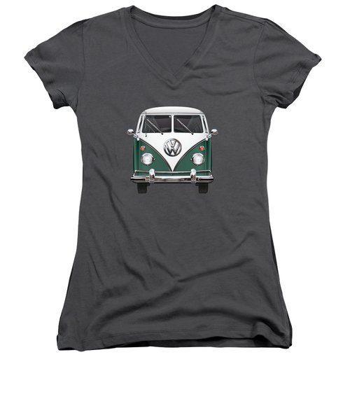 Volkswagen Type 2 - Green And White Volkswagen T 1 Samba Bus Over Red Canvas  Women's V-Neck T-Shirt (Junior Cut) by Serge Averbukh