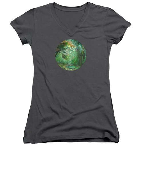 Rainy Woods Women's V-Neck T-Shirt (Junior Cut) by Mary Wolf