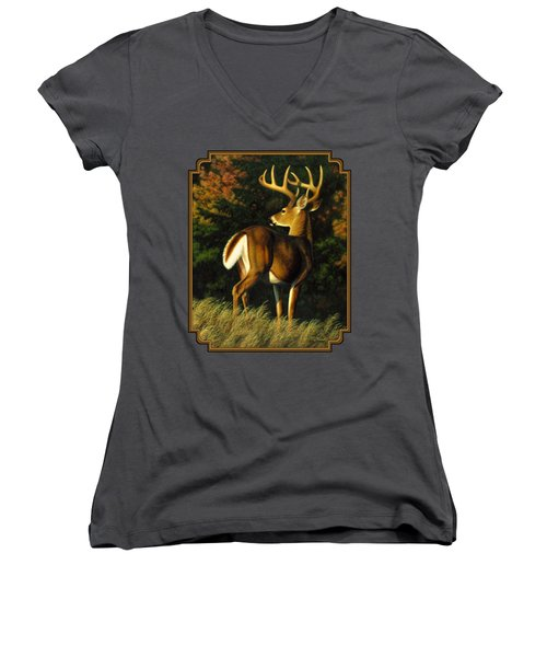 Whitetail Buck - Indecision Women's V-Neck T-Shirt (Junior Cut) by Crista Forest