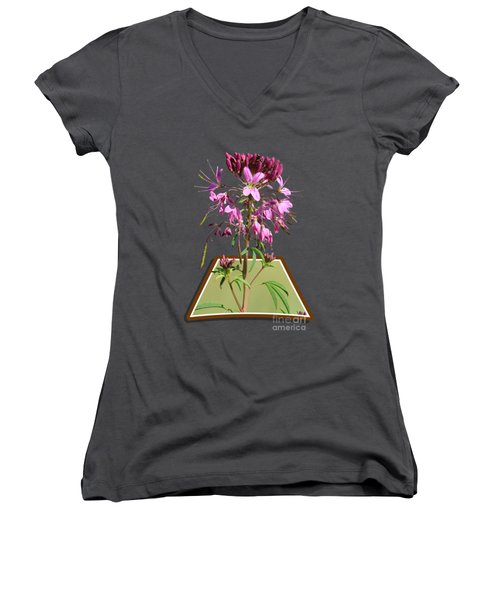 Rocky Mountain Bee Plant Women's V-Neck T-Shirt (Junior Cut) by Shane Bechler