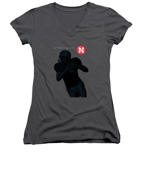 Nebraska Football Women's V-Neck T-Shirt (Junior Cut) by David Dehner