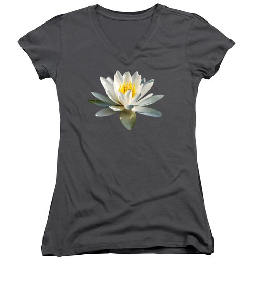 White Water Lily Women's V-Neck T-Shirt (Junior Cut) by Christina Rollo
