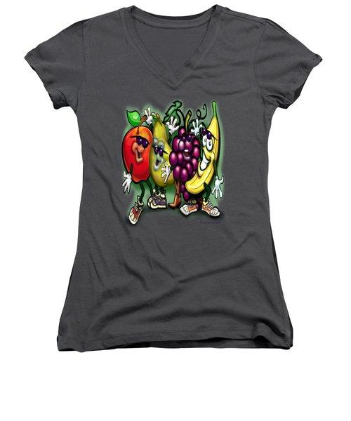 Fruits Women's V-Neck T-Shirt (Junior Cut) by Kevin Middleton