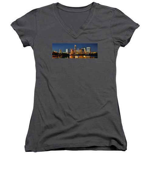 Austin Skyline At Night Color Panorama Texas Women's V-Neck T-Shirt (Junior Cut) by Jon Holiday