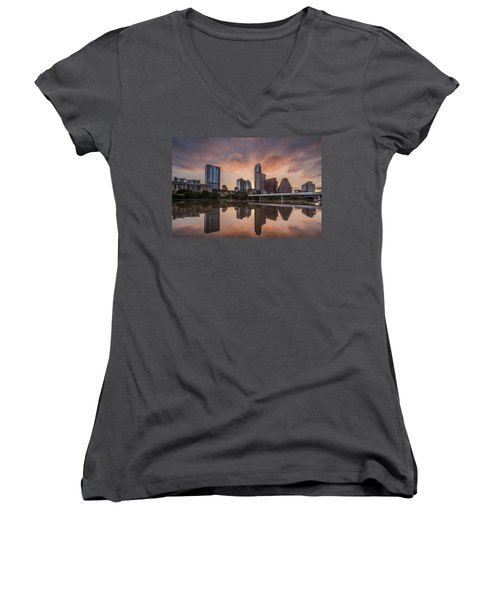 Austin Skyline Sunrise Reflection Women's V-Neck T-Shirt (Junior Cut) by Todd Aaron
