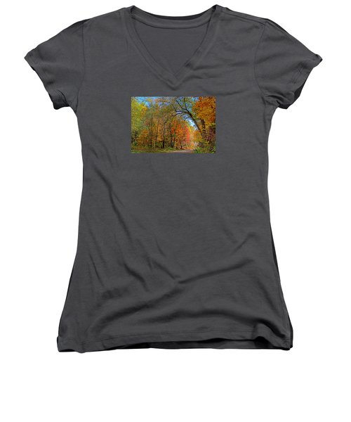 Women's V-Neck T-Shirt (Junior Cut) featuring the photograph Autumn Light by Rodney Campbell