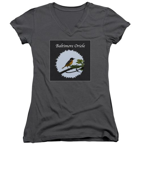 Baltimore Oriole  Women's V-Neck T-Shirt (Junior Cut) by Jan M Holden