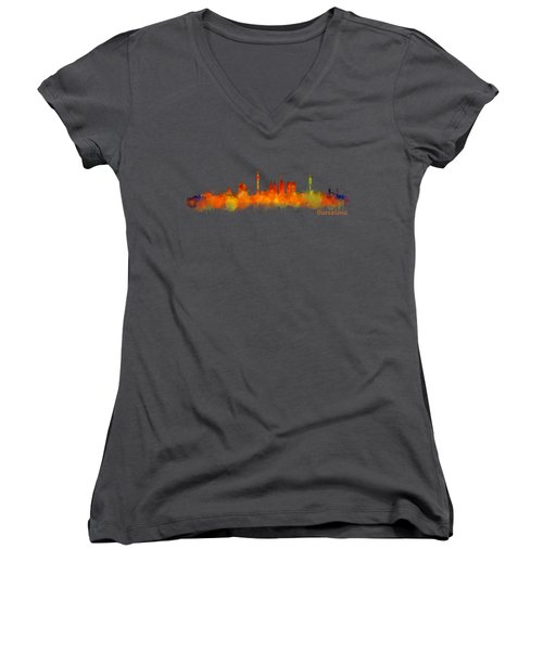 Barcelona City Skyline Hq V2 Women's V-Neck T-Shirt (Junior Cut) by HQ Photo