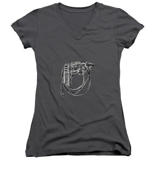 Bd Drill Motor Bw Women's V-Neck T-Shirt (Junior Cut) by YoPedro