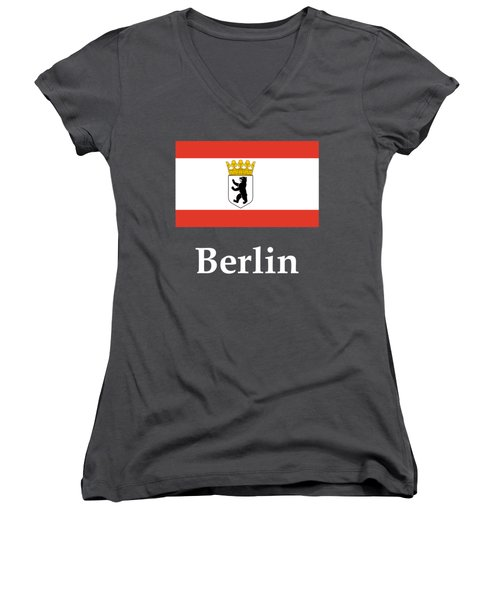 Berlin, Germany Flag And Name Women's V-Neck T-Shirt (Junior Cut) by Frederick Holiday