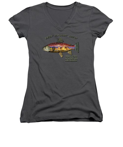 Fishing - Best Caught Wild-on Dark Women's V-Neck T-Shirt (Junior Cut) by Elaine Ossipov