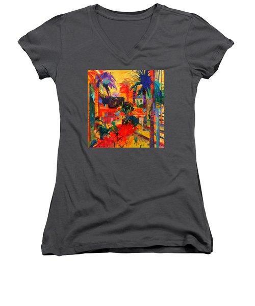 Beverly Hills Women's V-Neck T-Shirt (Junior Cut) by Peter Graham