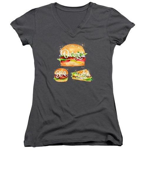 Black Burger Women's V-Neck T-Shirt (Junior Cut) by Aloke Design