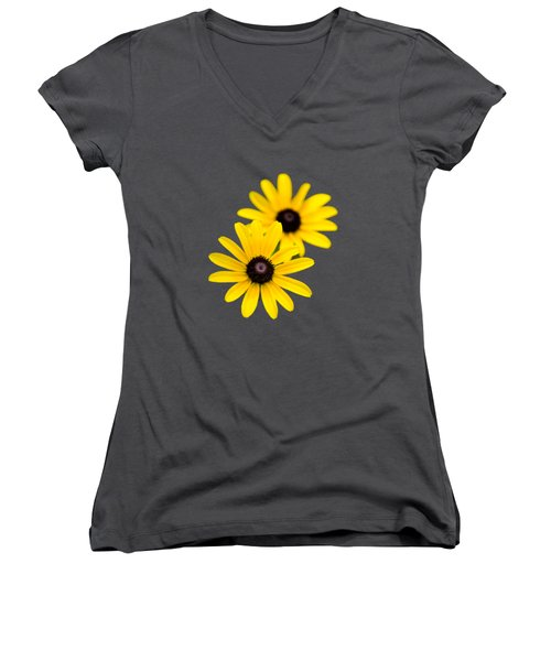 Black Eyed Susans Women's V-Neck T-Shirt (Junior Cut) by Christina Rollo