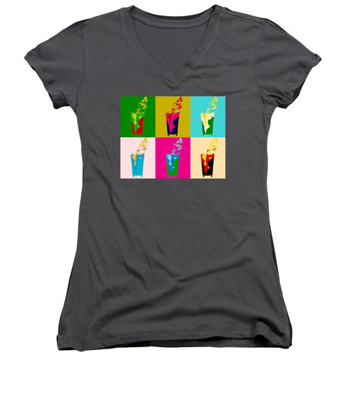 Bloody Mary Pop Art Panels Women's V-Neck T-Shirt (Junior Cut) by Dan Sproul