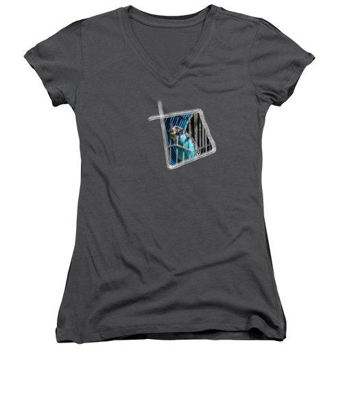 Blue Bird Women's V-Neck T-Shirt (Junior Cut) by Aissa Belbaz