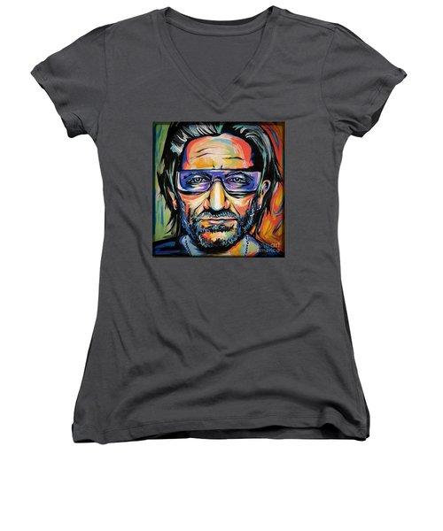 Bono Women's V-Neck T-Shirt (Junior Cut) by Amy Belonio